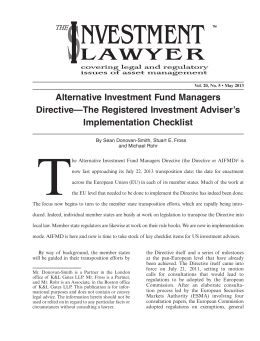 Alternative Investment Fund Managers Directive—The Registered Investment Adviser's Implementation Checklist