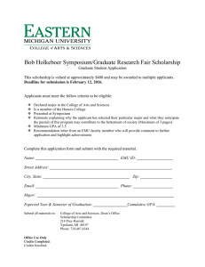 Bob Holkeboer Symposium/Graduate Research Fair Scholarship