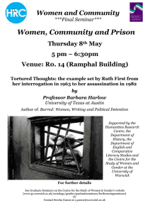 Women, Community and Prison Women and Community Thursday 8