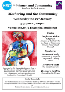 Mothering and the Community Women and Community Wednesday the 23 January