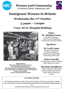 Immigrant Women in Britain Women and Community Wednesday the 17 October