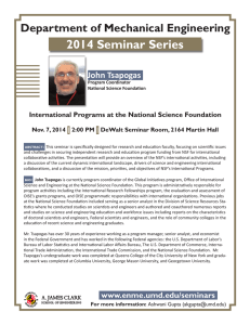 2014 Seminar Series Department of Mechanical Engineering John Tsapogas