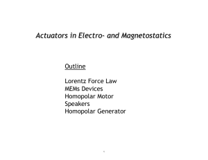 Actuators in Electro- and Magnetostatics  Outline Lorentz Force Law
