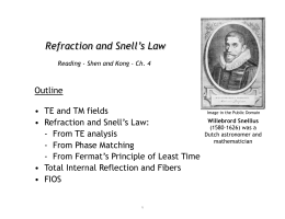 Refraction and Snell's Law