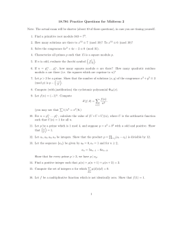 18.781 Practice Questions for Midterm 2