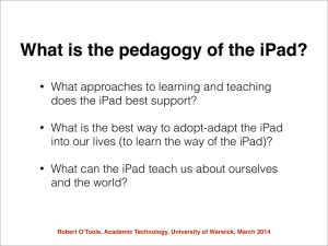 What is the pedagogy of the iPad?