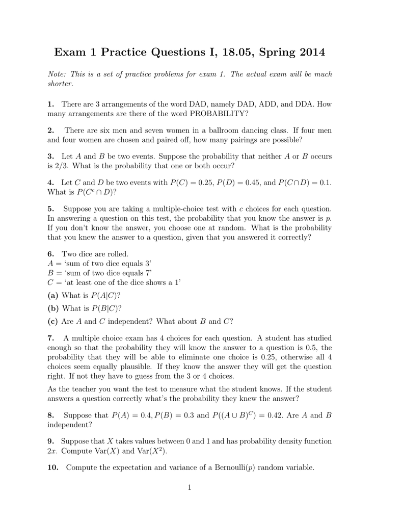 Exam 1 Practice Questions I,