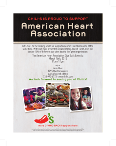 American Heart Association CHILI'S IS PROUD TO SUPPORT