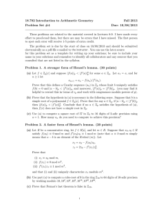 18.782 Introduction to Arithmetic Geometry Fall 2013 Problem Set #4 Due: 10/08/2013