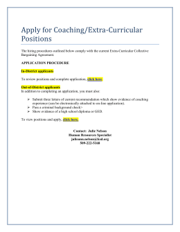 Apply for Coaching/Extra-Curricular Positions
