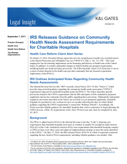 IRS Releases Guidance on Community Health Needs Assessment Requirements for Charitable Hospitals