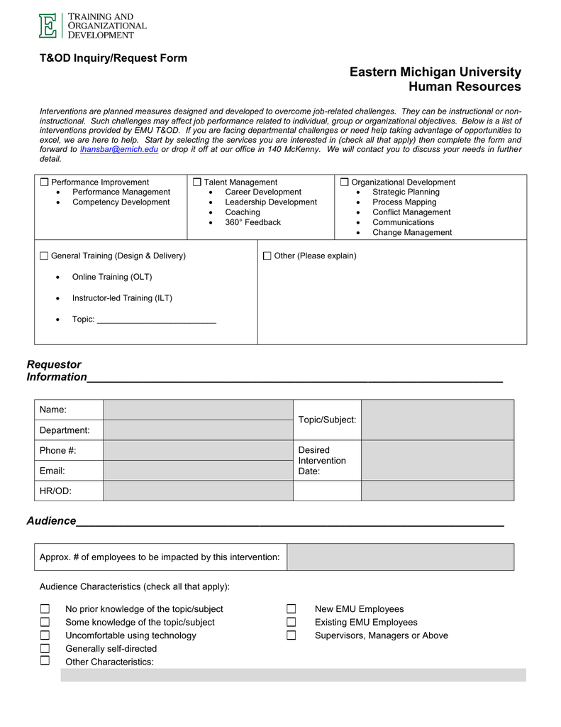 Eastern Michigan University Human Resources T Amp Od Inquiry Request Form