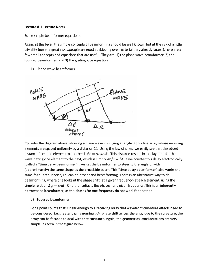 Lecture #11 Lecture Notes Some simple beamformer equations
