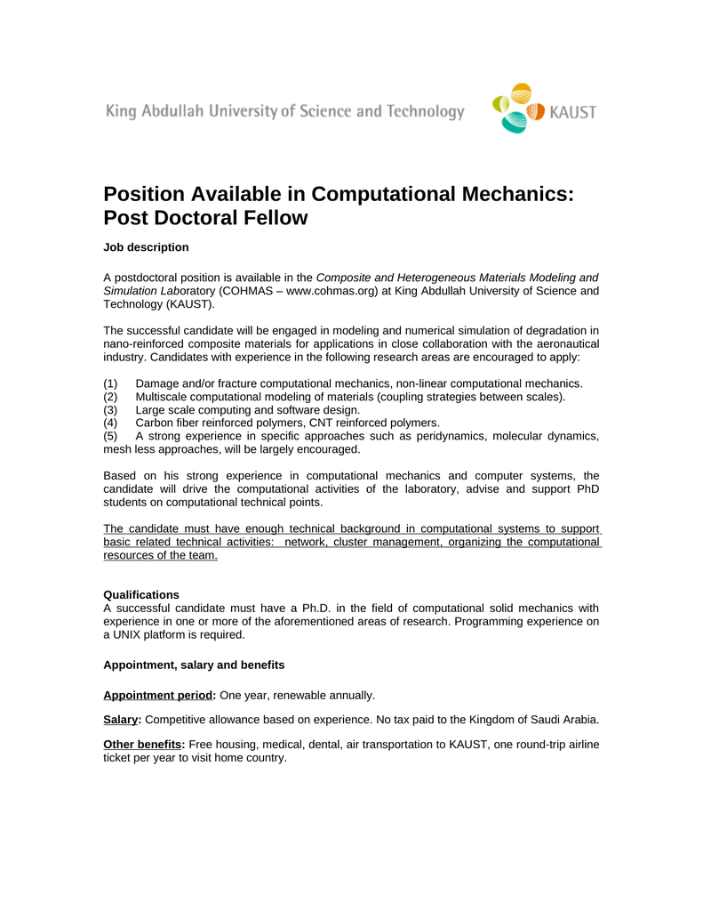Position Available in Computational Mechanics: Post Doctoral Fellow