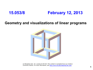 15.053/8          ... Geometry and visualizations of linear programs