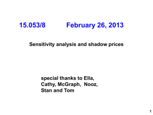 15.053/8          ... Sensitivity analysis and shadow prices  special thanks to Ella,