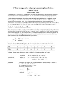 IP Reference guide for integer programming formulations.