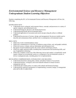 Environmental Science and Resource Management Undergraduate Student Learning Objectives