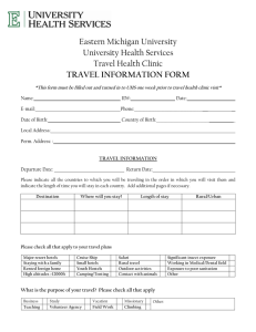 Eastern Michigan University University Health Services Travel Health Clinic