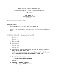 15.082J/6.855J/ESD.78J – Network Optimization (Fall 2010) Problem Set 3 Due Session 13