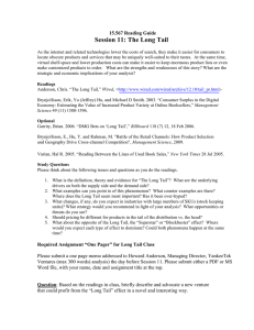 Session 11: The Long Tail 15.567 Reading Guide