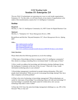Session 15: Enterprise 2.0 15.567 Reading Guide