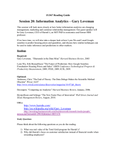 Session 20: Information Analytics – Gary Loveman 15.567 Reading Guide