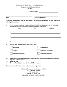COLLEGE OF BUSINESS – Ph.D. PROGRAM Supplementary Information Sheet FORM A Date Submitted
