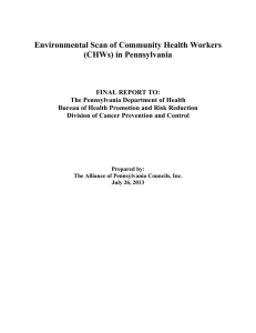 Environmental Scan of Community Health Workers (CHWs) in Pennsylvania