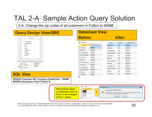 TAL 2-A  Sample Action Query Solution Datasheet View Query Design View/QBE