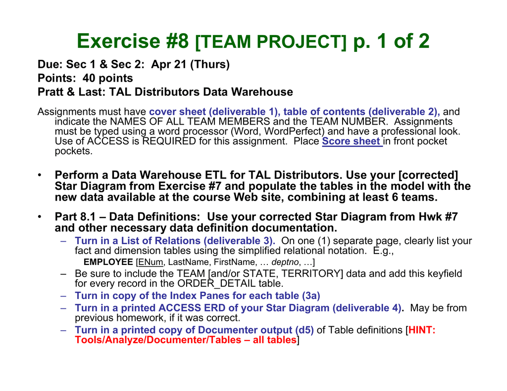 Exercise #8 p  1 of 2 [TEAM PROJECT]