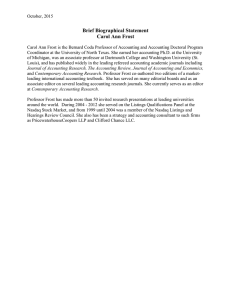 Brief Biographical Statement Carol Ann Frost
