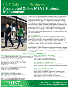 UNT College of Business Accelerated Online MBA | Strategic Management