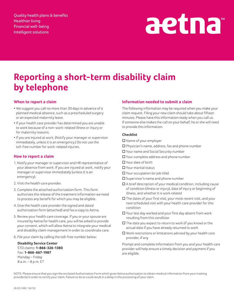 Reporting a short-term disability claim by telephone Quality ...