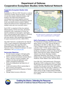 Department of Defense Cooperative Ecosystem Studies Units National Network