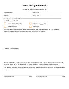 Eastern Michigan University Progressive Discipline Notification Form