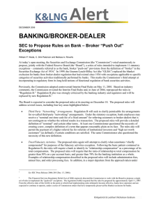 "BANKING/BROKER-DEALER SEC to Propose Rules on Bank – Broker ""Push Out"" Exceptions"