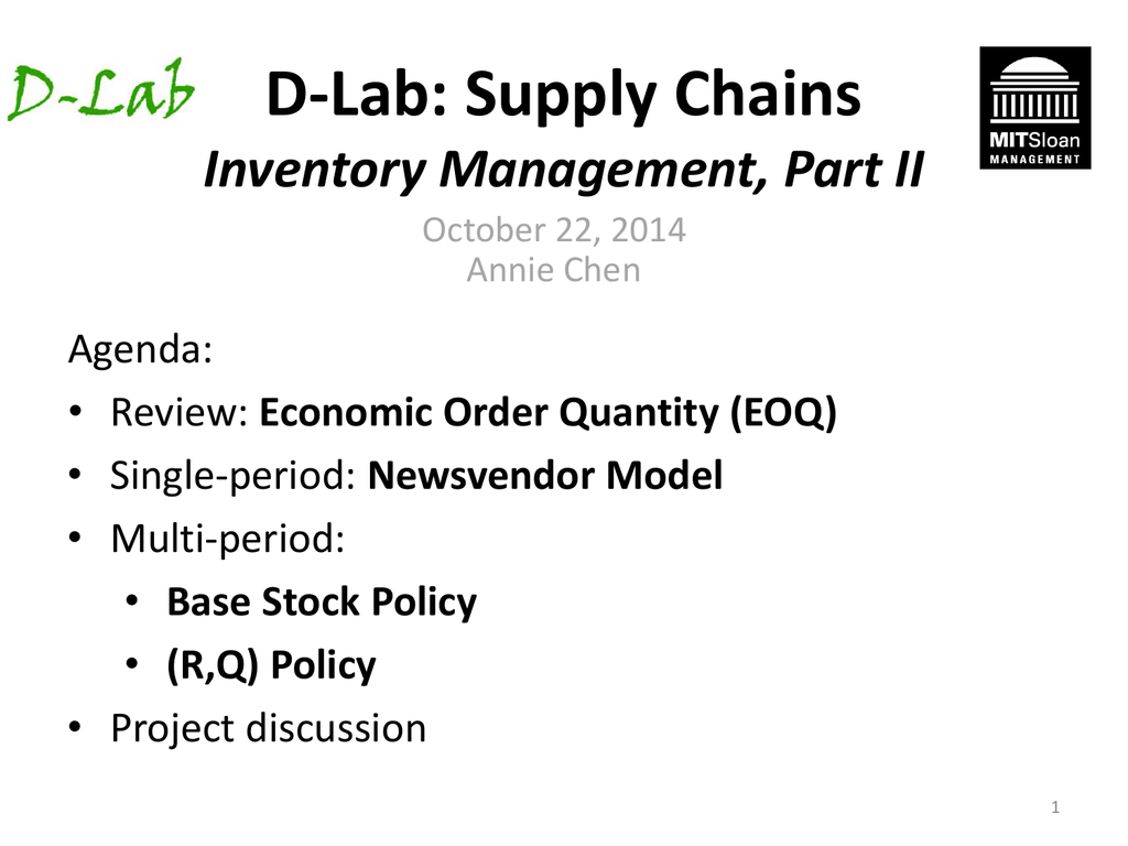 D-Lab: Supply Chains Inventory Management, Part II
