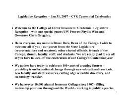 Legislative Reception – Jan 31, 2007 – CFR Centennial Celebration  