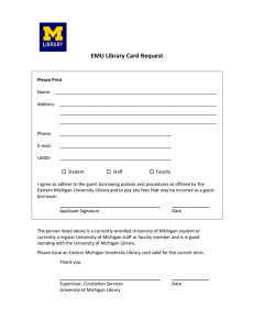 EMU Library Card Request