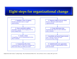 Eight steps for organizational change
