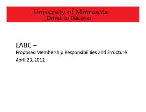 EABC – Proposed Membership Responsibilities and Structure April 23, 2012