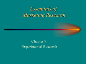 Essentials of Marketing Research Chapter 9: Experimental Research