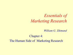 Essentials of Marketing Research Chapter 4: The Human Side of  Marketing Research