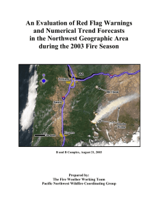 An Evaluation of Red Flag Warnings and Numerical Trend Forecasts