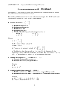 Homework Assignment 0 - SOLUTIONS  CSCI 510/EENG 510
