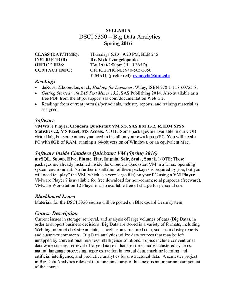 DSCI 5350 – Big Data Analytics Spring 2016 Readings