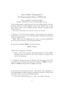 Home Assignments 1 for Programming Theory (TDDA 43) Most of