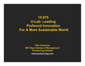 15.975 U-Lab: Leading Profound Innovation For A More Sustainable World