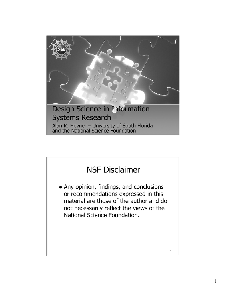Nsf Disclaimer Design Science In Information Systems Research